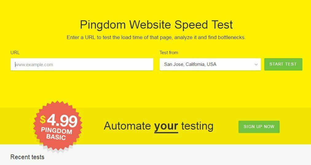 PingDom Tools Website speed test - Pingdom